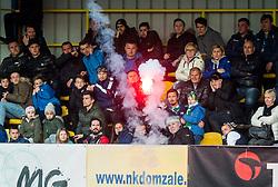 Fans of Olimpija during football match between NK Domzale and NK Olimpija Ljubljana in 24th Round of Prva liga Telekom Slovenije 2016/17, on March 12, 2017 in Sports park, Domzale, Slovenia. Photo by Vid Ponikvar / Sportida