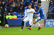 Joel Ward of Crystal Palace (l) passes the ball past Gylfi Sigurdsson of Everton. Premier league match, Everton v Crystal Palace at Goodison Park in Liverpool, Merseyside on Saturday 10th February 2018. pic by Chris Stading, Andrew Orchard sports photography.