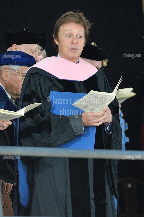 Paul McCartney seems to recognize someone in the audience after receiving his Honorary Doctor of Music Degree, Mus. D, Yale University, New Haven, CT