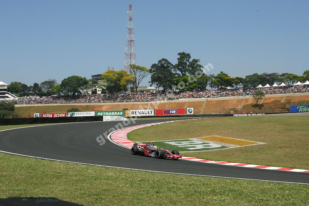 Lewsi Hamilton (McLaren-Mercedes) in a scenic shot from the 2007 Brazilian Grand Prix at Interlagos in Sao Paulo. Photo: Grand Prix Photo