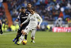 January 19, 2019 - Madrid, Madrid, Spain - Luka Modric (Real Madrid) seen in action during the La Liga match between Real Madrid and Sevilla FC at the Estadio Santiago Bernabéu in Madrid. (Credit Image: © Manu Reino/SOPA Images via ZUMA Wire)