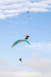 para gliders and Hang Gliders fly from the hills around Mam Tor in the Hope Valley <br />  11 October 2015<br />   Image © Paul David Drabble <br />   www.pauldaviddrabble.co.uk