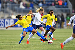 February 27, 2019 - Chester, PA, U.S. - CHESTER, PA - FEBRUARY 27: Brazil Forward Marta (10) reaches to keep the ball from England Midfielder Keira Walsh (4) in the second half during the She Believes Cup game between Brazil and England on February 27, 2019 at Talen Energy Stadium in Chester, PA. (Photo by Kyle Ross/Icon Sportswire) (Credit Image: © Kyle Ross/Icon SMI via ZUMA Press)