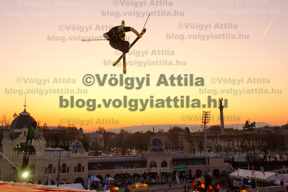 Alex Schlopy from United States of America performs his trick during the freestyle skiing competition held on the 35 meters high artificial ski jumping ramp on the Monster Energy Fridge Festival in central Budapest, Hungary on November 12, 2011. ATTILA VOLGYI