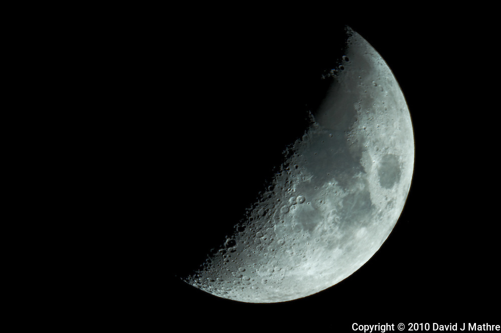 """First Quarter Moon. Image taken with Nikon D3s and Questar 7"""" telescope (ISO 200, ~1600 mm, f/16, 1/50 sec)"""