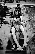 """London, United Kingdom.  Oxford University Boat Club, Training Camp at St Paul's School, Hammersmith 2-12 Jan. 1990, Photography days 3 and 6th Jan. The squad using the """"Tank"""" under the supervision.<br /> <br /> [Mandatory Credit. Peter SPURRIER Intersport Images}.<br /> <br /> Blue Boat. W, M Gaffney J J Heathcote D G Miller R J Obholzer M C Pinsent J W C Searle T G Slocock M W Watts."""