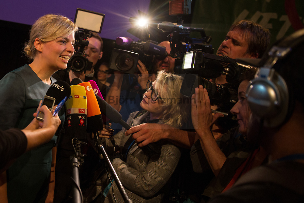Muenchen, Bayern, Germany - 14.10.2018<br /> <br /> Katharina Schulze, Spitzenkandidatin der Gruenen bei der bayrischen Landtagswahl. Gruene Wahlparty zur bayrischen Landtagswahl im Muffatwerk. Freude bei den Gruenen die 2. staerkste Partei werden.<br /> <br /> Photo: Bjoern Kietzmann