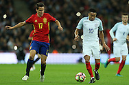 Jesse Lingard of England (r) and Ander Herrera of Spain in action. England v Spain, Football international friendly at Wembley Stadium in London on Tuesday 15th November 2016.<br /> pic by John Patrick Fletcher, Andrew Orchard sports photography.
