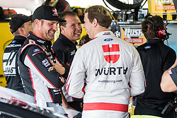 October 5, 2018 - Dover, DE, U.S. - DOVER, DE - OCTOBER 05: Clint Bowyer (L) and Brad Keselowski (R) chat prior to Friday's practice for the Monster Energy NASCAR Cup Series Gander Outdoors 400 on October 05, 2018, at Dover International Speedway in Dover, DE. (Photo by David Hahn/Icon Sportswire) (Credit Image: © David Hahn/Icon SMI via ZUMA Press)