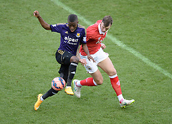 West Ham's Enner Valencia battles for the ball with Bristol City's Aden Flint - Photo mandatory by-line: Alex James/JMP - Mobile: 07966 386802 - 25/01/2015 - SPORT - Football - Bristol - Ashton Gate - Bristol City v West Ham United - FA Cup Fourth Round
