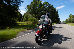 Kerry Patchett riding his 1947 Indian Chief in the Cross Country Chase motorcycle endurance run from Sault Sainte Marie, MI to Key West, FL. (for vintage bikes from 1930-1948). 287 mile ride of Stage-8 from Tallahassee to Lakeland, FL USA. Friday, September 13, 2019. Photography ©2019 Michael Lichter.