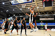 Taylor Hawks Hyrum Harris goes for the basket during a match against the Auckland Super City Rangers.<br /> Super City Rangers v Taylor Hawks, NBL NZ, Trusts Arena, Auckland, New Zealand. 7 July 2018. © Copyright Image: Marc Shannon / www.photosport.nz.