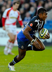 Bath Winger (#11) Semesa Rokoduguni breaks through to score a late try during the second half of the match - Photo mandatory by-line: Rogan Thomson/JMP - Tel: Mobile: 07966 386802 09/11/2012 - SPORT - RUGBY - The Recreation Ground - Bath. Bath v Newport Gwent Dragons  - LV= Cup