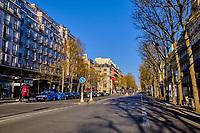 France, Paris (75), Avenue de l'Opera durant le confinement du Covid 19 // France, Paris, Opera avenue during the containment of Covid 19