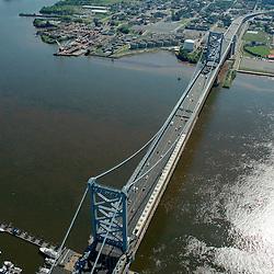 Aerial photograph of Benjamin Franklin Bridge into Camden NJ