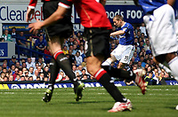 Photo: Paul Thomas.<br /> Everton v Manchester United. The Barclays Premiership. 28/04/2007.<br /> <br /> Alan Stubbs (R) scores for Everton.