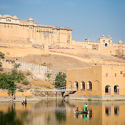 Fishermen on lake at Amber Fort, Jaipur
