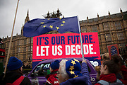 Anti Brexit pro Europe electronic banner on behalf of The Peoples Vote in Westminster on the day of the 'meaningful vote' when MPs will back or reject the Prime Minister's Brexit Withdrawal Agreement on 15th January 2019 in London, England, United Kingdom.