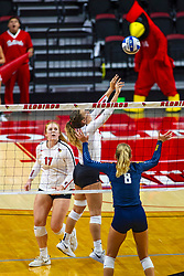 BLOOMINGTON, IL - September 15: Stef Jankiewicz setting during a college Women's volleyball match between the ISU Redbirds and the Marquette Golden Eagles on September 15 2019 at Illinois State University in Normal, IL. (Photo by Alan Look)