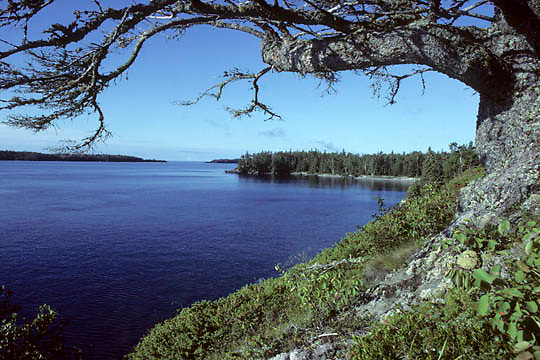Isle Royale National Park, Bat & Raspberry Island,view from Rock Harbor. Michigan.