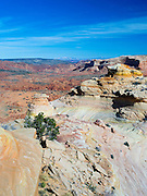 """Looking northward from Top Rock Arch. Scene from the beautiful geological formation of colorful folded sandstone known as """"The Wave."""" North Coyote Buttes, Vermillion Cliffs National Monument, Arizona."""