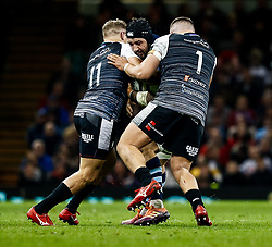 Josh Turnbull of Cardiff Blues under pressure from Hanno Dirksen of Ospreys<br /> <br /> Photographer Simon King/Replay Images<br /> <br /> Guinness PRO14 Round 21 - Cardiff Blues v Ospreys - Saturday 27th April 2019 - Principality Stadium - Cardiff<br /> <br /> World Copyright © Replay Images . All rights reserved. info@replayimages.co.uk - http://replayimages.co.uk