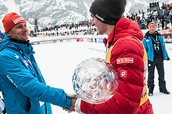 Miran Tepes congratulates to Gregor Schlierenzauer of Austria overall world cup winner of season 2012/13 at medal ceremony after the Flying Hill Individual Competition at 4th day of FIS Ski Jumping World Cup Finals Planica 2013, on March 24, 2013, in Planica, Slovenia (Photo by Grega Valancic / Sportida.com)