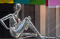 Metallic mannequin at Louis Vuitton store on Fifth Avenue and 57th street, New York City