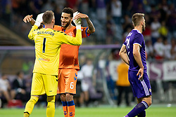 Allan McGregor and Connor Goldson of FC Rangers celebrate during 2nd Leg football match between NK Maribor and Rangers FC in 3rd Qualifying Round of UEFA Europa League 2018/19, on August 16, 2018 in Stadion Ljudski vrt, Maribor, Slovenia. Photo by Urban Urbanc / Sportida