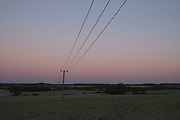 Frosty winter morning landscape with telephone wires in Olney, England, United Kingdom.