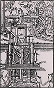 Multiple suction pumps, powered by an overshot water wheel through a spur wheel and lantern, being used to raise water from a mine. From 'De re metallica', by Agricola, pseudonym of Georg Bauer (Basle, 1556).  Woodcut.