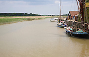 Boats on the River Alde at Snape Maltings, Suffolk, England