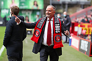 Charlton Athletic owner Thomas Sandgaard moving hands appearing to conduct the crowd during the EFL Sky Bet League 1 match between Charlton Athletic and AFC Wimbledon at The Valley, London, England on 12 December 2020.