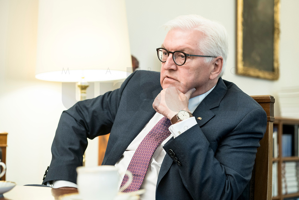 02 JUL 2018, BERLIN/GERMANY:<br /> Frank-Walter Steinmeier, Bundespraesident, waehrend einem Interview, Amtszimmer des Bundespraesidenten, Schloss Bellevue<br /> IMAGE: 20180702-01-029<br /> KEYWORDS: Bundespräsident
