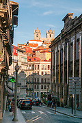 Urban scene at Rua da Vitoria in the Old Town of Porto, Portugal