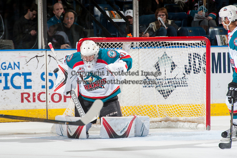 KELOWNA, CANADA - FEBRUARY 10: Brodan Salmond #31 of the Kelowna Rockets makes a second period save against the Vancouver Giants on February 10, 2017 at Prospera Place in Kelowna, British Columbia, Canada.  (Photo by Marissa Baecker/Shoot the Breeze)  *** Local Caption ***