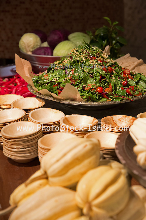 Assortment of salads on display on a buffet table