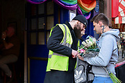 A customers bag is searched outside the Admiral Duncan pub in London, England, United Kingdom on 30th April 2019. Twenty years since a Neo-Nazi set of a nail bomb at the Admiral Duncan pub a iconic gay venue in Soho killing three people and wounded 79. Four of the survivors had to have limbs amputated.