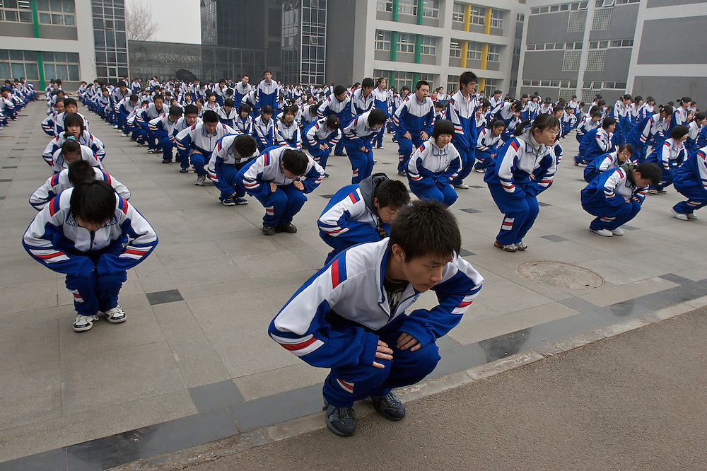 Morning exercises at No. 11 High School in Beijing, China.