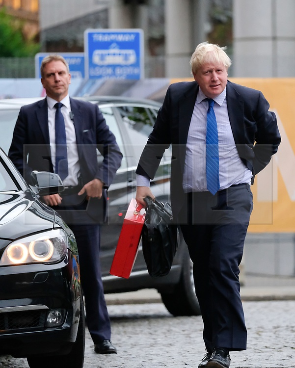 © Licensed to London News Pictures. <br /> 01/10/2017 <br /> Manchester, UK.  <br /> <br /> Foreign Secretary Boris Johnson arrives at the Midland Hotel as he attends the Conservative party Conference which will be held over four days in Manchester, England in the Manchester Central Convention Complex.<br /> The conference offered a schedule of speeches, receptions and fringe events giving a chance for party members and the public to learn about party ideas and policies for the year ahead.<br /> <br /> Photo credit: Ian Forsyth/LNP