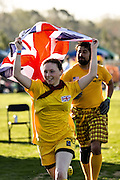 Members of the United Kingdom team enter the playing field during the opening ceremonies for the 7th Annual Quidditch World Cup April 5, 2014 in Myrtle Beach, South Carolina. The sport, created from the Harry Potter novels is a co-ed contact sport with elements from rugby, basketball, and dodgeball. A quidditch team is made up of seven athletes who play with broomsticks between their legs at all times.