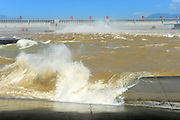 YICHANG, CHINA - SEPTEMBER 03: (CHINA OUT) <br /> <br /> Three Gorges Reservoir Releases Flood Waters For The First Time In 2014<br /> <br /> Three Gorges Reservoir releases flood waters for the first time on September 3, 2014 in Yichang, Hubei province of China. Three Gorges Reservoir reached its flood peak on September 2.<br /> ©Exclusivepix