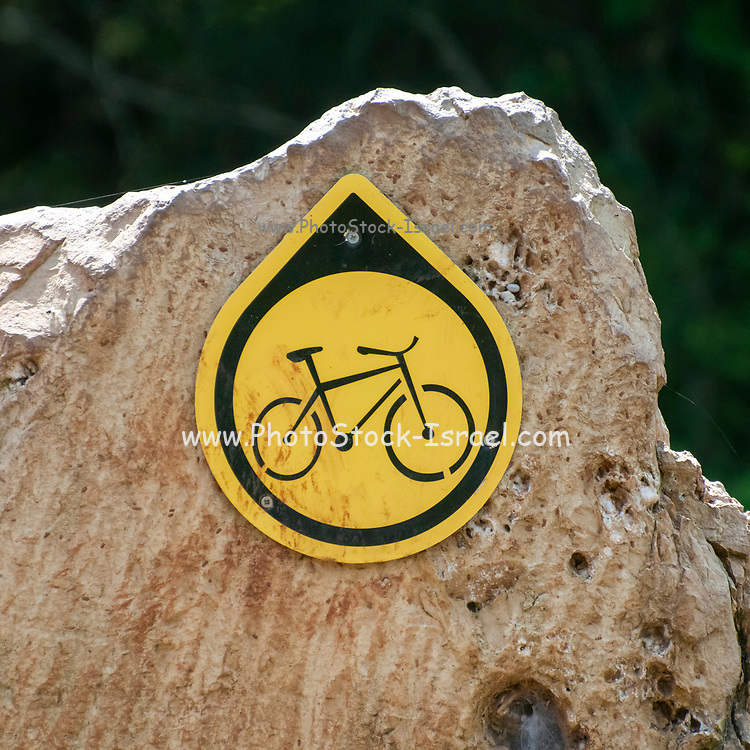 Single track cycling sign pointing in the route's direction