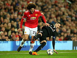 Marouane Fellaini of Manchester United takes on Sergio Escudero of Sevilla - Mandatory by-line: Robbie Stephenson/JMP - 13/03/2018 - FOOTBALL - Old Trafford - Manchester, England - Manchester United v Sevilla - UEFA Champions League Round of 16 2nd Leg