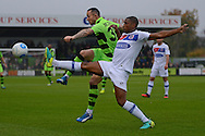 Forest Green Rovers striker Rhys Murphy (39) battles for possession with Dagenham and Redbridge midfielder Andre Boucaud (17) 0-0 during the Vanarama National League match between Forest Green Rovers and Dagenham and Redbridge at the New Lawn, Forest Green, United Kingdom on 29 October 2016. Photo by Alan Franklin.
