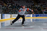 KELOWNA, CANADA - FEBRUARY 10: Referee Kevin Bennett skates at the Kelowna Rockets against the Vancouver Giants on February 10, 2017 at Prospera Place in Kelowna, British Columbia, Canada.  (Photo by Marissa Baecker/Shoot the Breeze)  *** Local Caption ***