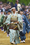 Characters in Japanese traditional costumes at display in Hyde Park, London, United Kingdom