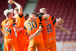 Dundee United's players cele Dundee United's Tony Andrue (19) scoring their third goal. Dunfermline 1 v 3 Dundee United, Scottish Championship game played 10/9/2016 at East End Park.
