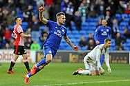 Cardiff City's Joe Ralls © celebrates after scoring his teams 2nd goal  to make it 2-0. EFL Skybet championship match, Cardiff city v Sunderland at the Cardiff city stadium in Cardiff, South Wales on Saturday 13th January 2018.<br /> pic by Carl Robertson, Andrew Orchard sports photography.