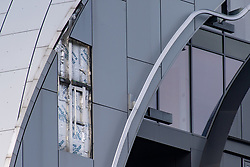 © Licensed to London News Pictures. 25/05/2021. London, UK. The section of building where cladding on the Arc Tower in Ealing came loose. Emergency services were forced to close a section of Uxbridge Road while the building was made safe. Photo credit: Peter Manning/LNP
